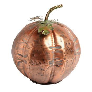 "11"" Weathered Metal Pumpkin Decor"