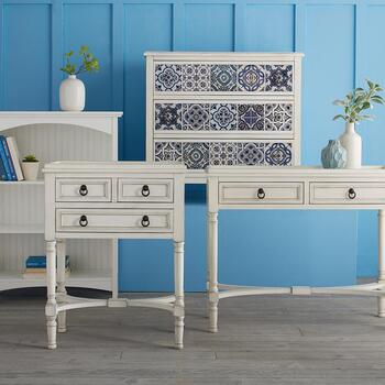 Coastal Ivory Bookcases and Furniture