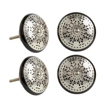 Black Metal Decorative Furniture Knobs, Set of 4