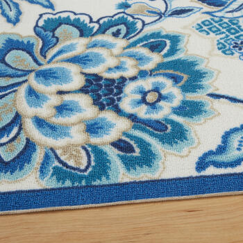 Waverly® Blue Floral Print All-Weather Area Rug view 2