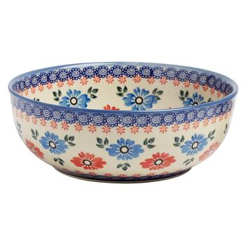 Polish Pottery Blue/Red Floral Large Mixing Bowl