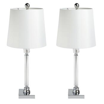 "24"" White Shade Crystal Candlestick Table Lamps, Set of 2"