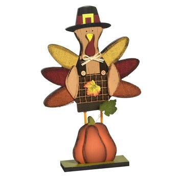 "16.5"" Wood Turkey and Pumpkin Standing Decor"