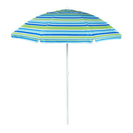 7' Blue/Green Striped Beach Umbrella view 1