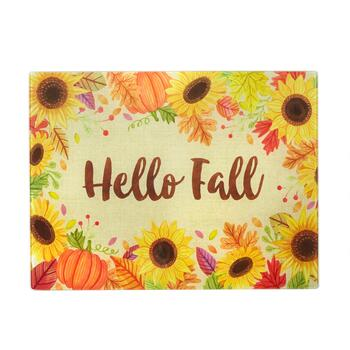 "12""x15"" ""Hello Fall"" Sunflower Glass Cutting Boards, Set of 2"