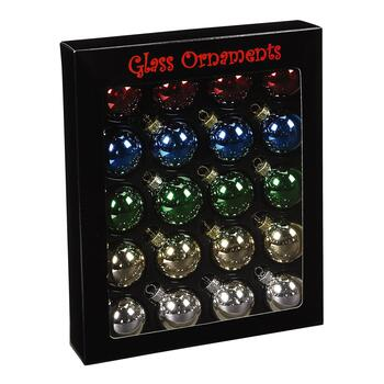 Medium Shiny Glass Traditional Ornaments, Set of 20