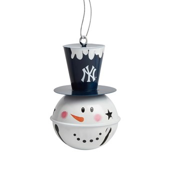 New York Yankees Tophat Snowman Jingle Bell Ornament