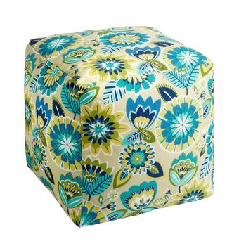 "14"" Floral Indoor/Outdoor Square Ottoman"
