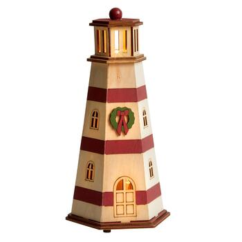 "9"" Red LED Cutout Wooden Lighthouse"