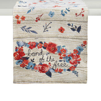 """Land of the Free"" Floral Beaded Table Runner view 1"