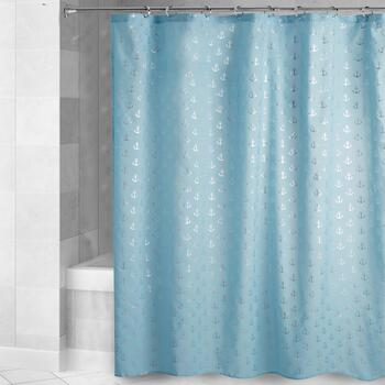 Caribbean Joe Blue Anchors Shower Curtain