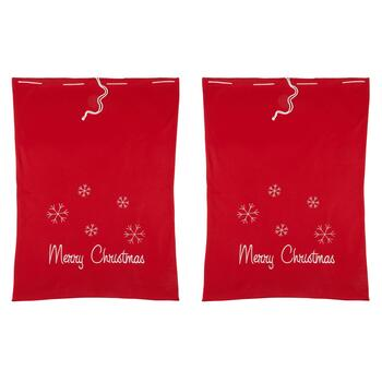 "Red ""Merry Christmas"" Embroidered Gift Sacks, Set of 2"