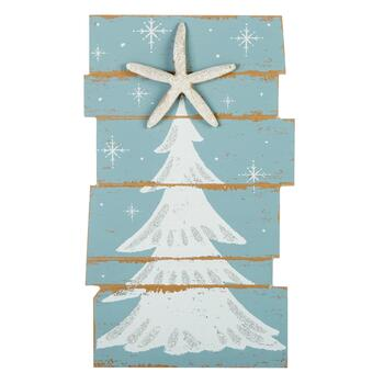 "15.5"" Starfish Christmas Tree Wood Wall Sign"