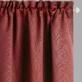 Red Scroll Blackout Window Curtains, Set of 2 view 1