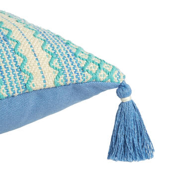 Aqua/Periwinkle Woven Indoor/Outdoor Throw Pillow with Tassels view 3