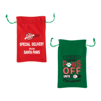 """From Santa Paws"" Felt Drawstring Bags, Set of 2 view 1"