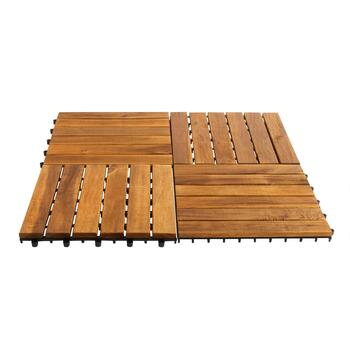 Handcrafted Acacia Wood 6-Plank Floor Tiles, 10-Pack