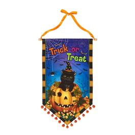 "37.5"" ""Trick or Treat"" Cat Canvas Banner with Pom-Poms"