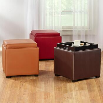 Faux Leather Square Ottomans with Tray Top