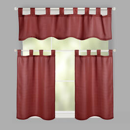 Solid Tab-Top Window Tier & Valance Set view 1