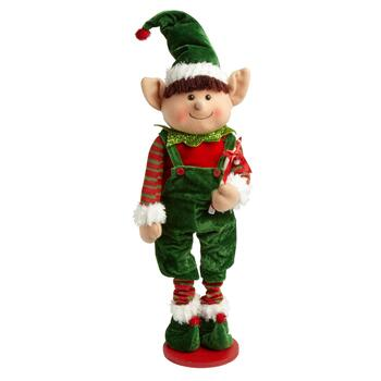 "26"" Standing Boy Elf with Green Overalls"