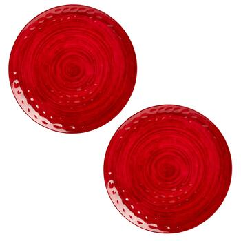 "17.5"" Solid Swirl Round Melamine Serving Platters, Set of 2"