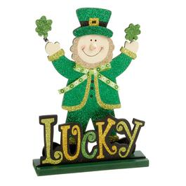 "12.5"" ""Lucky"" Elf Glittered Table Sitter"