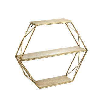 "23""x20"" The Grainhouse™ Gold Geometric Hanging Wood Wall Shelves view 1"