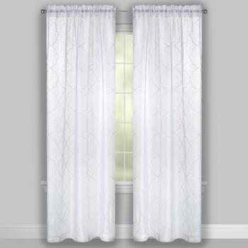 White Moroccan Embroidered Window Curtains, Set of 2 view 2
