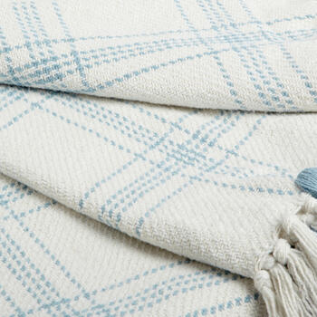 The Grainhouse™ Blue/White Plaid Woven Cotton Throw with Fringe view 2