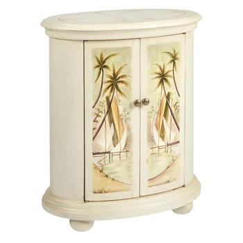 Palm Tree Painted 2 Door Chairside Cabinet