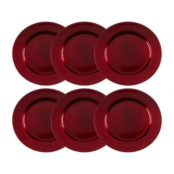 round red metallic charger plates set of 6 - Christmas Charger Plates