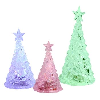Acrylic Color-Changing LED Light Trees with Timers, Set of 3