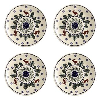 Polish Pottery Deer Pine Salad Plates, Set of 4