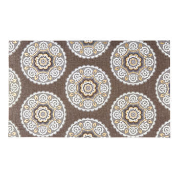 Gray Medallion Circles All-Weather Door Mat view 1