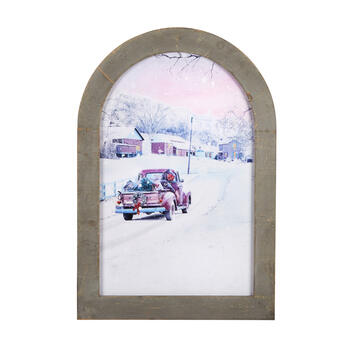 "22""x32"" Holiday Truck Framed Arch Wall Decor view 1"