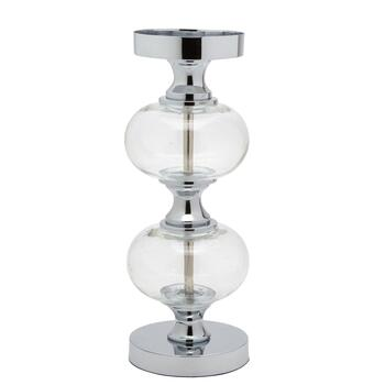 Double Orb Clear Glass Pillar Candle Holder