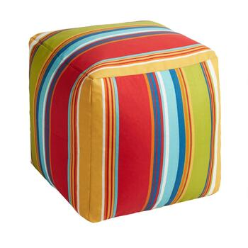 Fiesta Stripe Indoor/Outdoor Square Ottoman