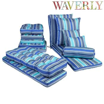 Waverly® Cobalt Stripe Indoor/Outdoor Chair Pads Collection
