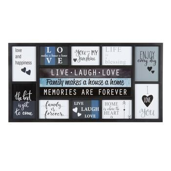 "15""x30"" ""Live, Laugh, Love"" 10-Opening Photo Frame Wall Collage ..."