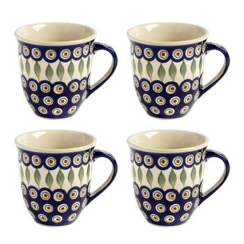 Polish Pottery Peacock Feathers Jumbo Mugs, Set of 4