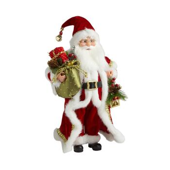"16"" Red Coat Santa with Lantern Figurine"