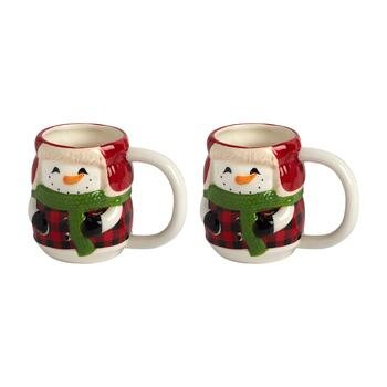 Bundled Plaid Snowman Ceramic Mugs, Set of 2