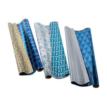 Blue Reversible Wrapping Paper Rolls, Set of 3