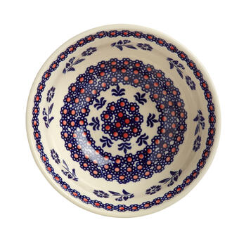 Polish Pottery Blue/Orange Floral Handmade Mixing Bowl view 2