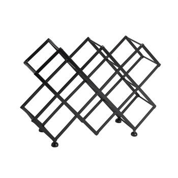 Black 10-Bottle Zigzag Wine Rack