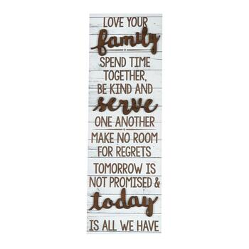 "12""x36"" ""Love Your Family"" Cutout Wood Plank Wall Decor"