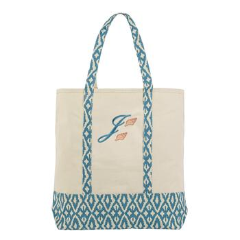 "Seashells Monogrammed ""J"" Canvas Tote"