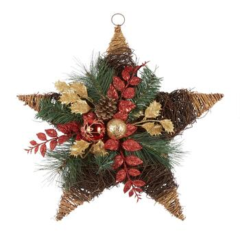 "20"" Glitter Leaves and Ornaments Twig Star Wall Hanger"