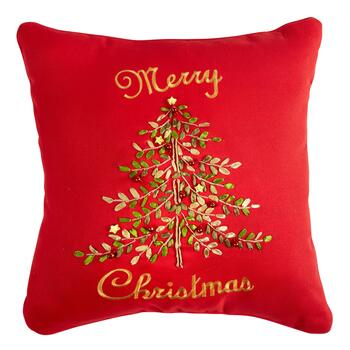"""Merry Christmas"" Tree Throw Pillow"